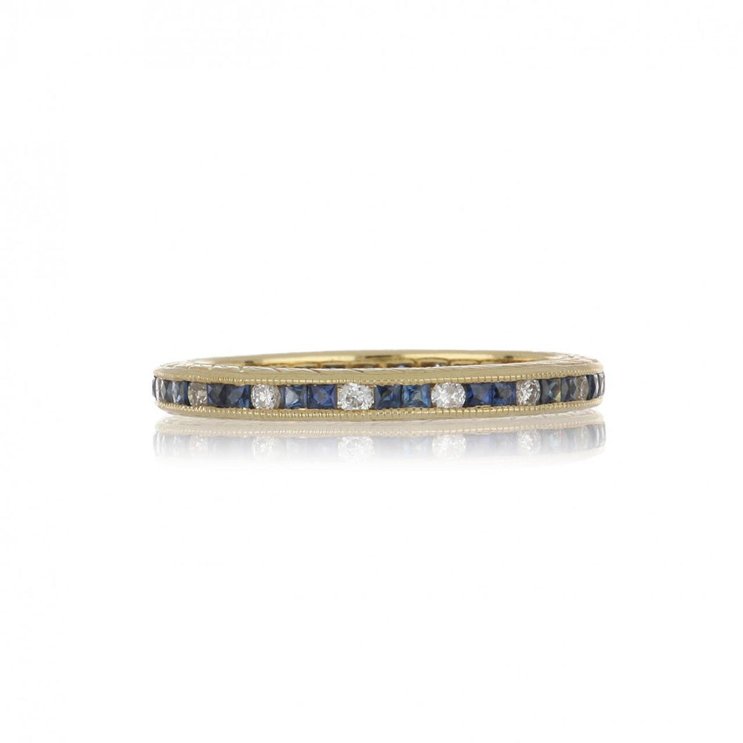 14K Gold Square-Cut Sapphire and Diamond Eternity Band