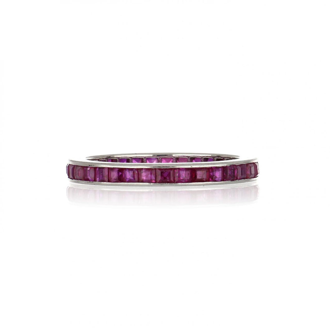 14K White Gold Channel-Set Square Step-Cut Ruby Eternity Band