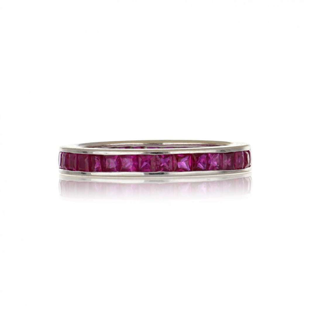 18K White Gold Channel-Set Square-Cut Ruby Eternity Band