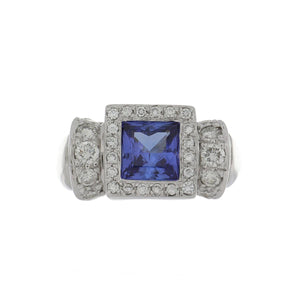 14K White Gold Square-Cut Tanzanite and Diamond Ring
