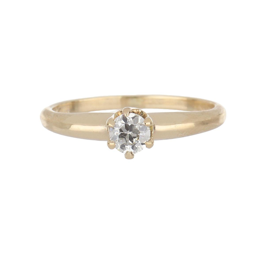 Edwardian 14K Gold Old European-Cut Diamond Solitaire Engagement Ring