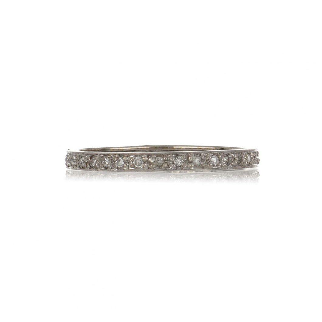 14K White Gold Narrow Bead-Set Diamond Eternity Band
