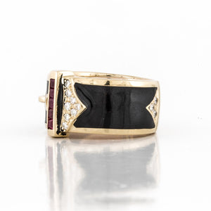 Vintage 1990s Black Enamel Buckle Ring with Rubies and Diamonds