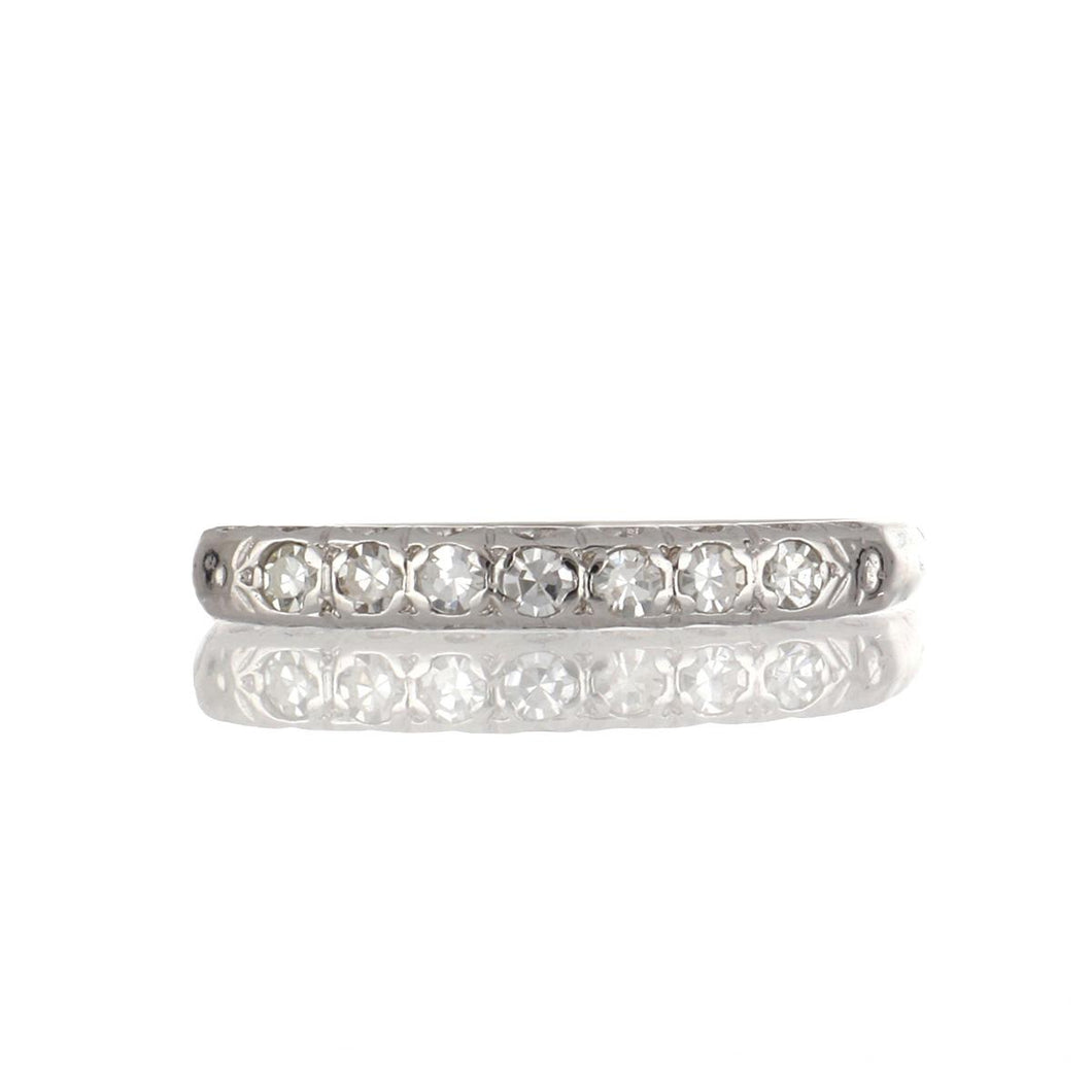 Estate 14K White Gold Diamond Band