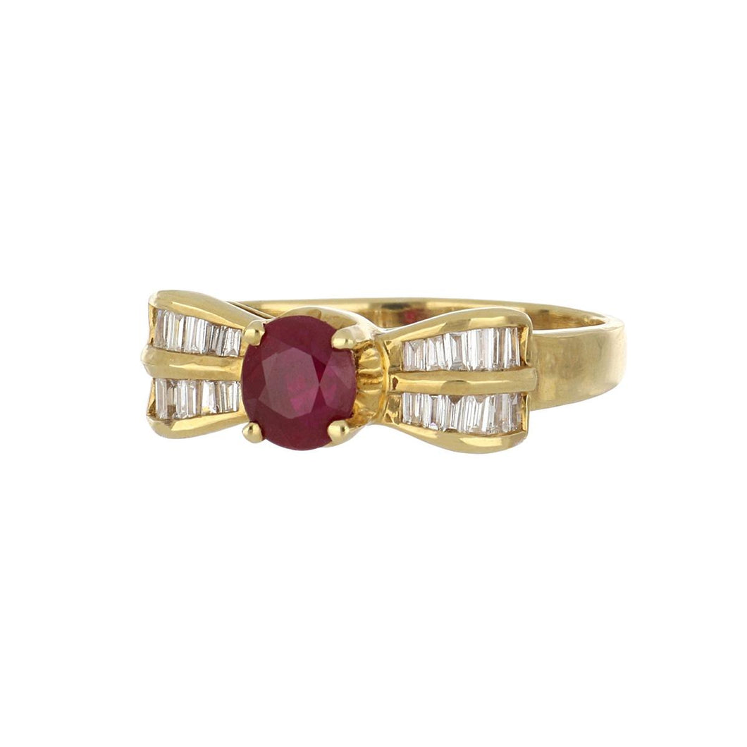 Estate 18K Gold Ruby and Diamond Ring