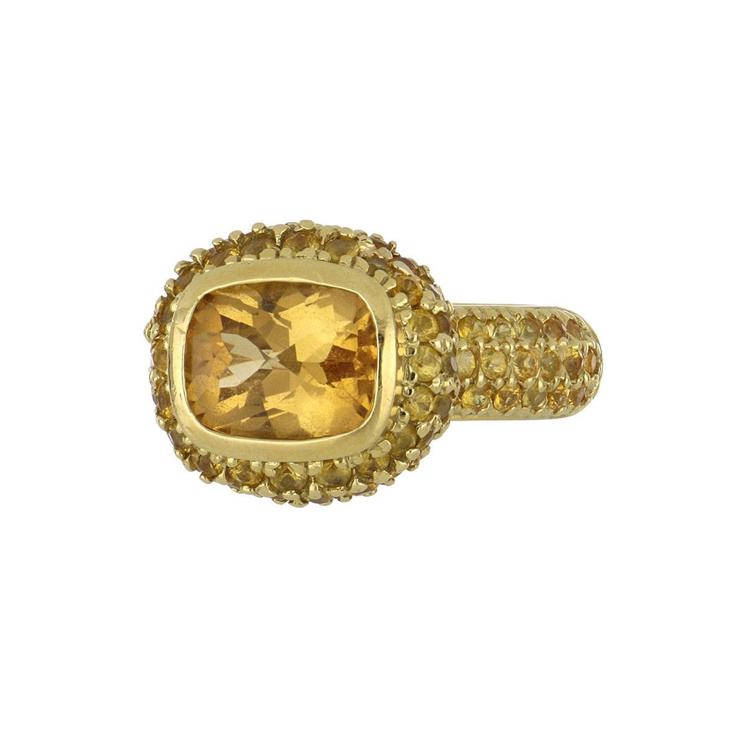 Estate Beverley K 18K Gold Citrine Ring with Yellow Sapphires