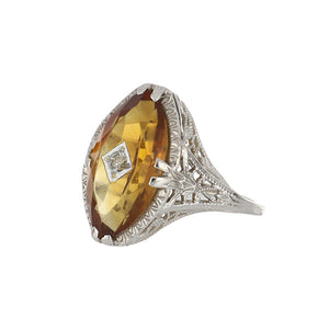 Art Deco 14K White Gold Marquise Citrine Filigree Ring with Diamond