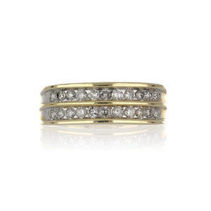 14K Gold Ring with Double Row of Channel-Set Diamonds