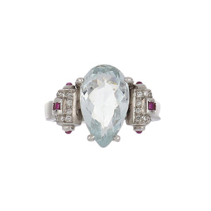 Estate 14K White Gold Pear Shape Aquamarine Ring with Rubies and Diamonds