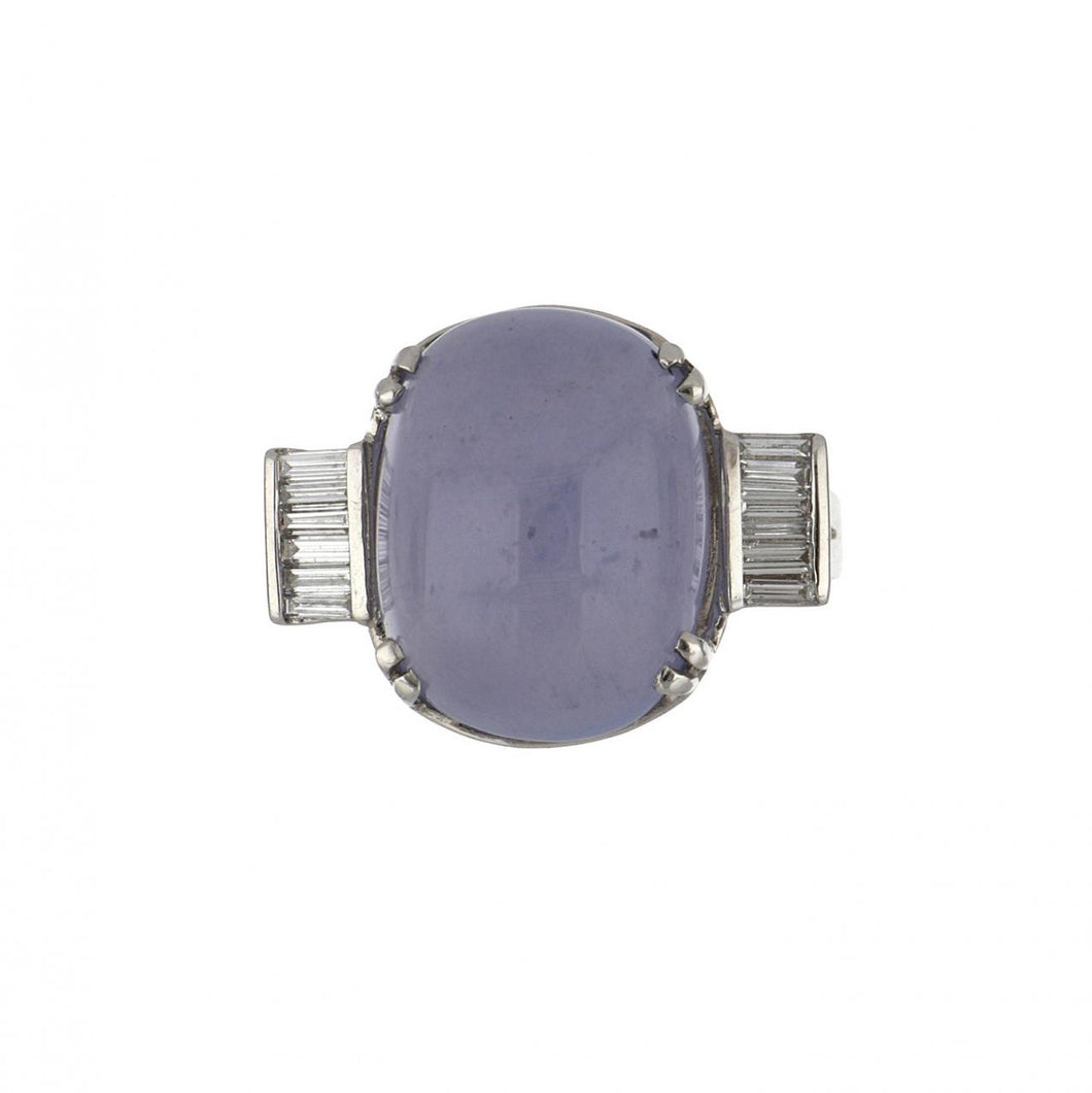 18K White Gold Blue Chalcedony and Baguette Diamond Ring