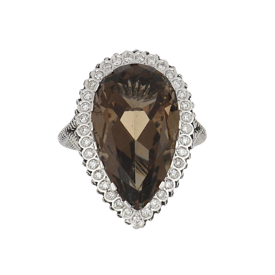 Estate 14K White Gold Pear-Shape Smoky Quartz and Diamond Ring
