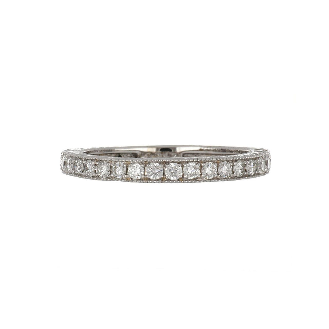 14K White Gold Engraved Band with Diamonds