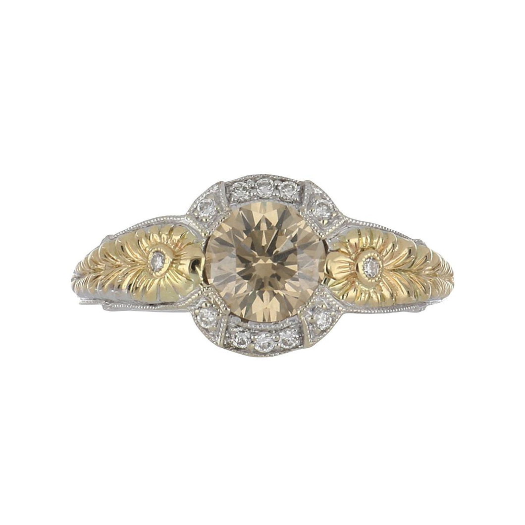 14K Two-Tone Gold Fancy Brown Diamond Ring with Diamonds