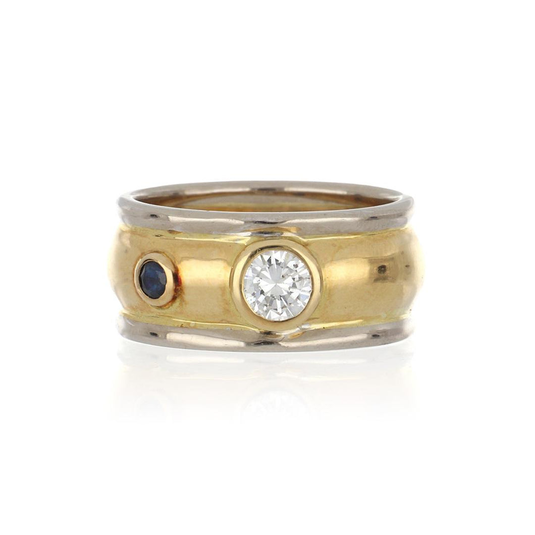 18K Two-Tone Gold Wide Band with Diamond and Sapphire