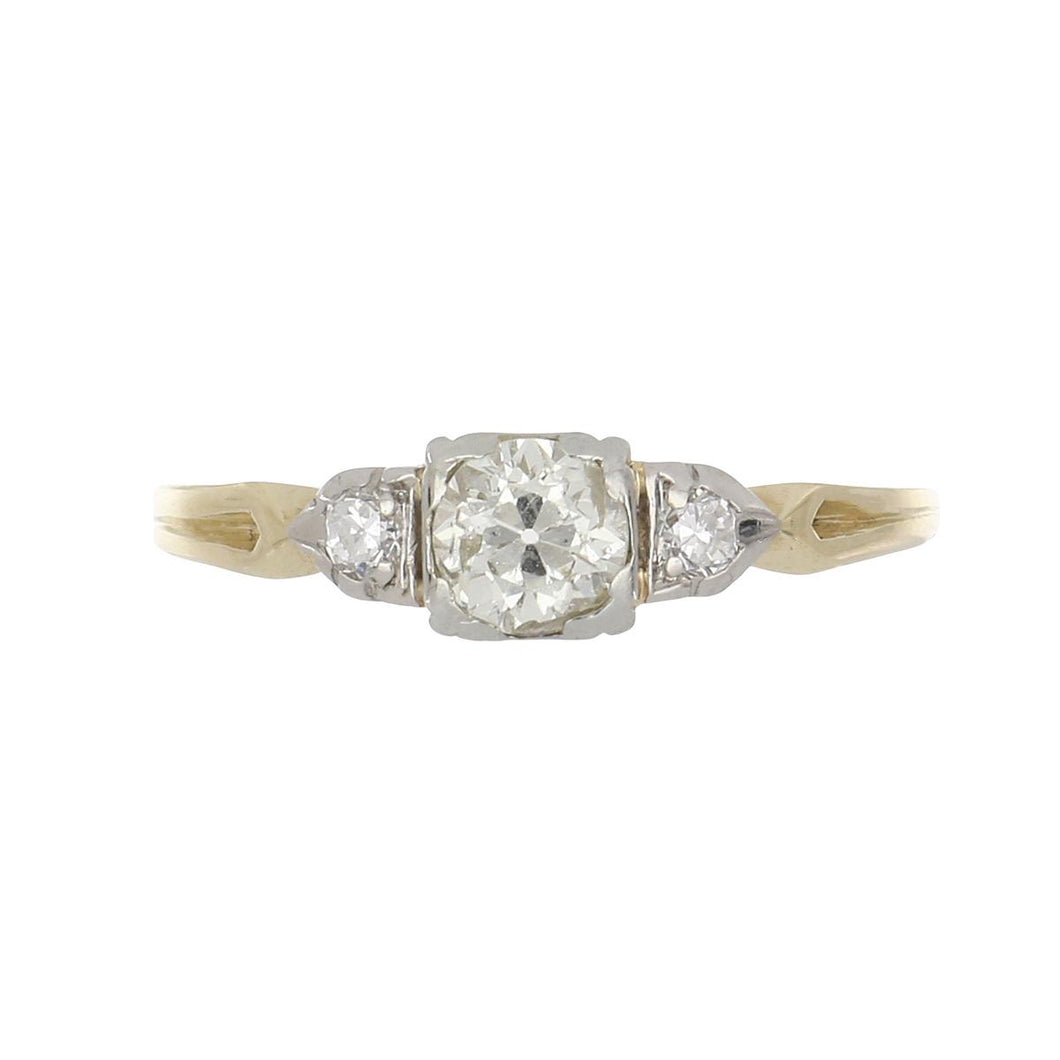 Art Deco 14K Two-Tone Gold Old European-Cut Diamond Engagement Ring