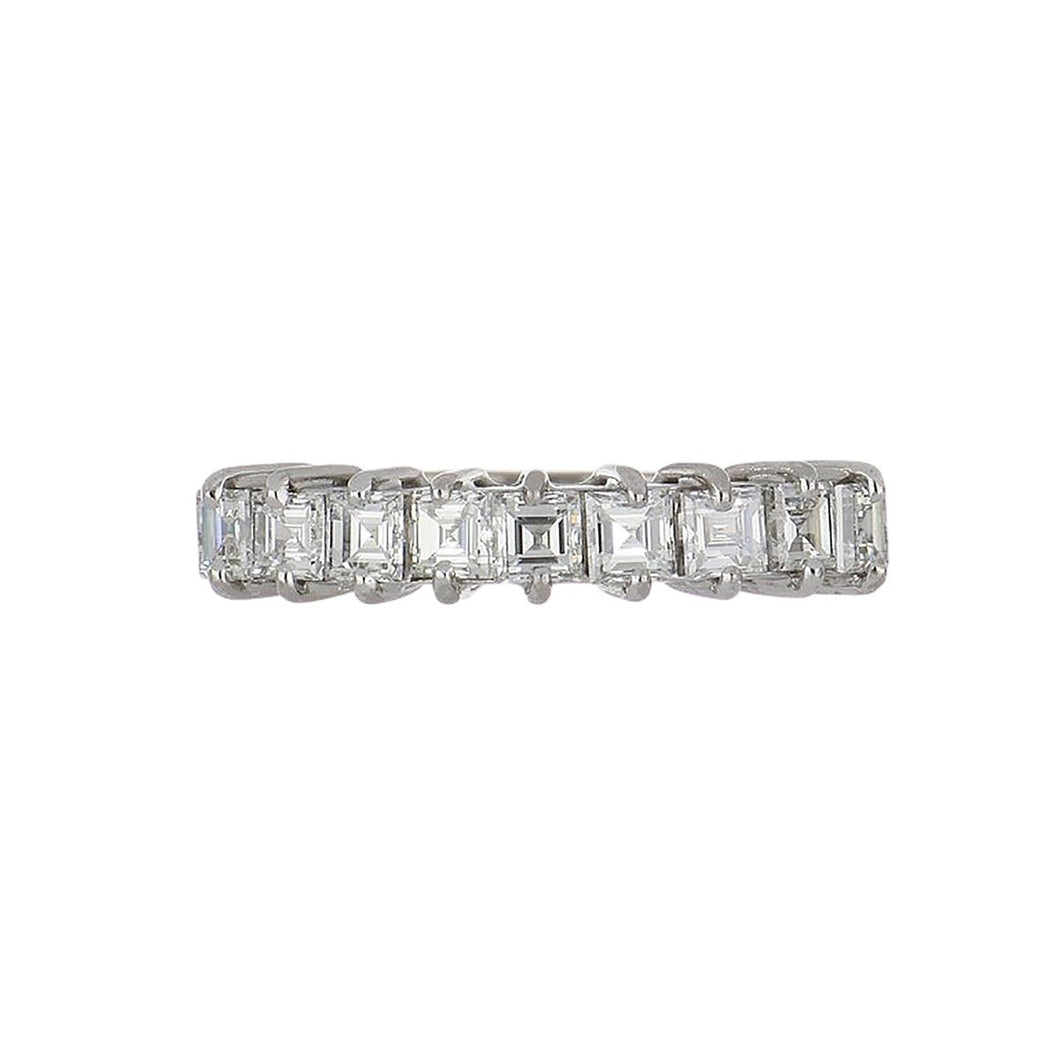 Estate 18K White Gold Square-Cut Diamond Half Eternity Band