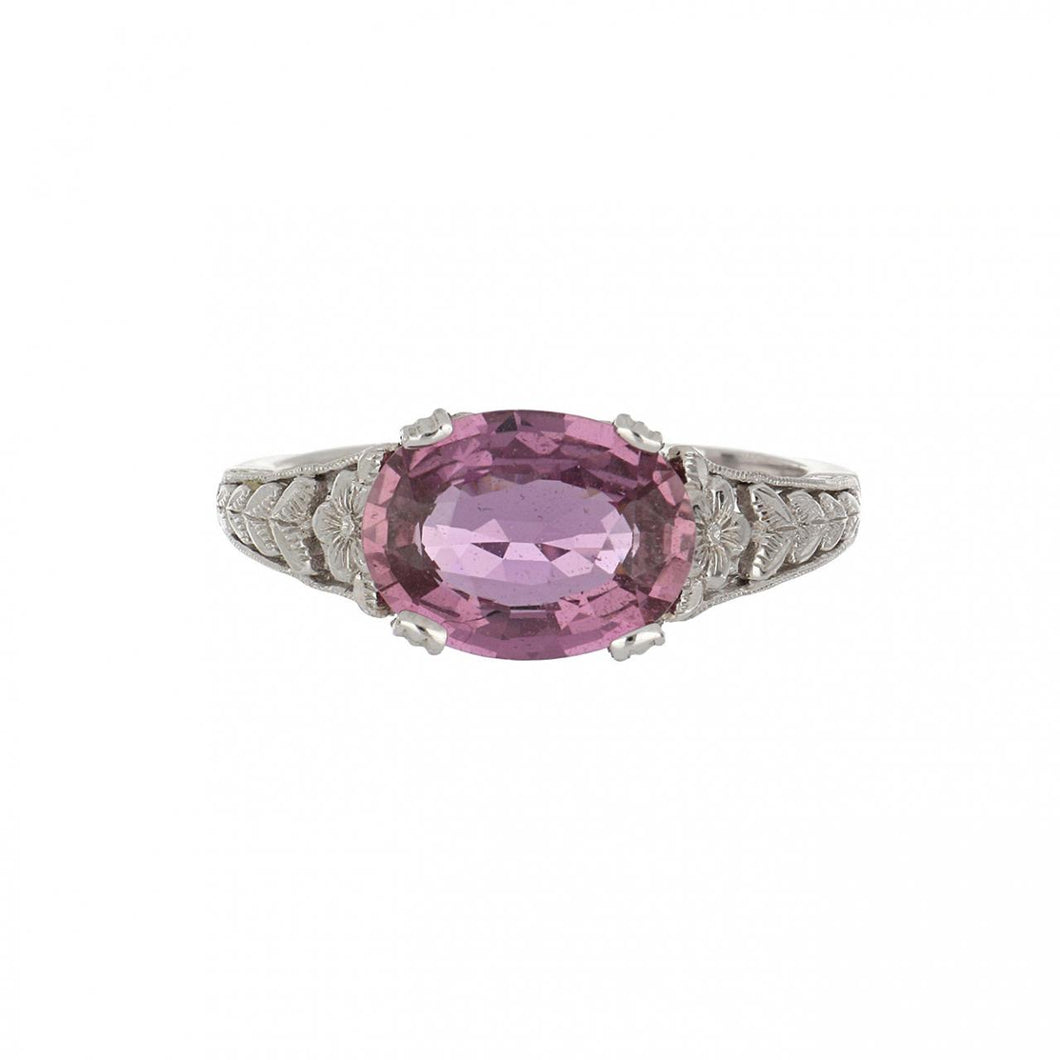 Estate 18K White Gold Openwork Oval Pink Sapphire Ring