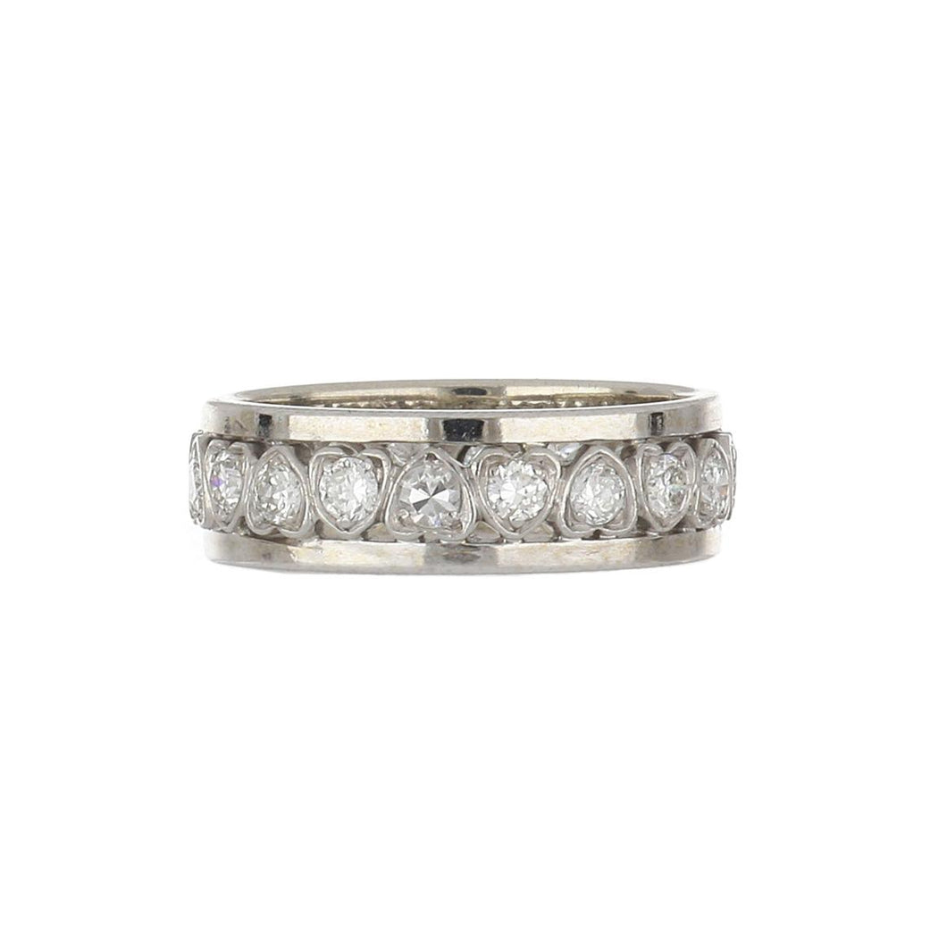 Estate 14K White Gold Diamond Heart Band