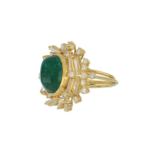Estate 18K Gold Sugarloaf Cabochon Emerald and Diamond Ring