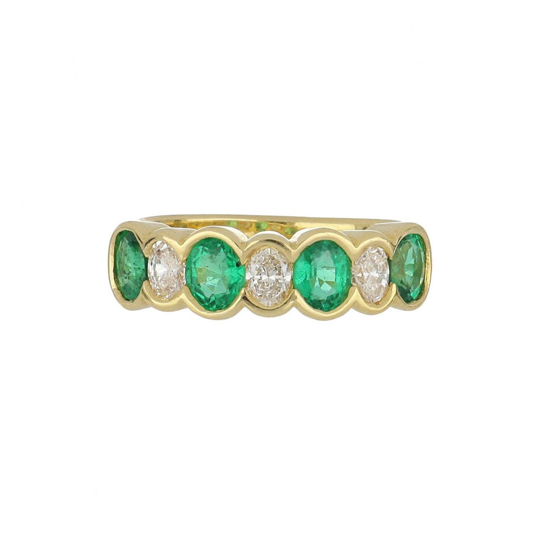 18K Gold Oval Emerald and Diamond Ring