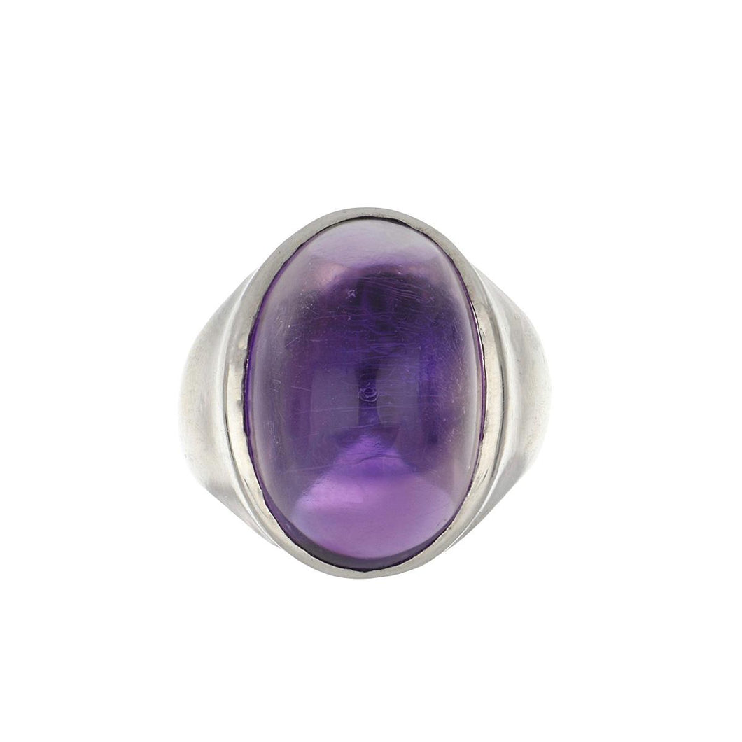 Estate 18K White Gold Cabochon Amethyst Ring