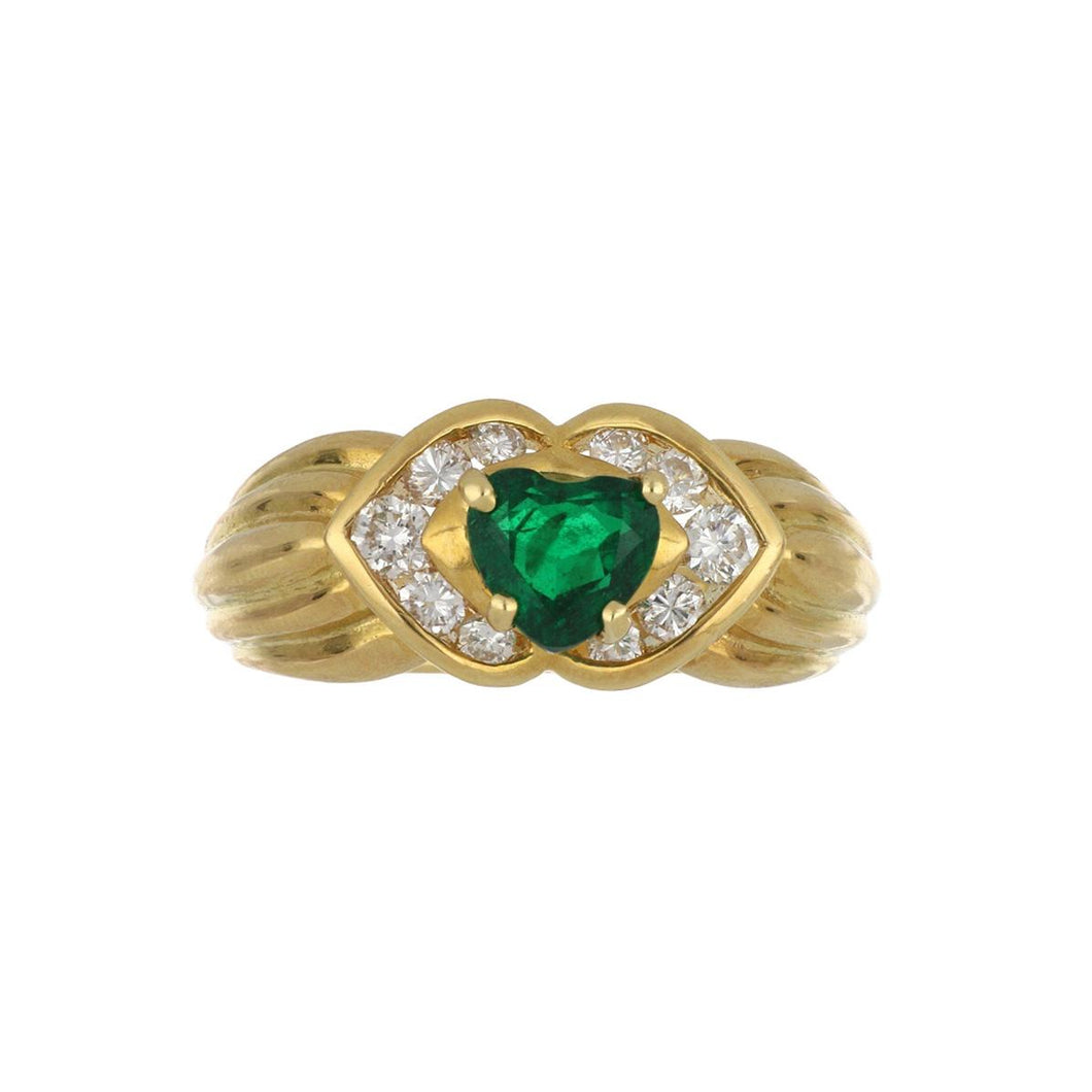 Estate 18K Gold Heart Shape Emerald and Diamond Ring