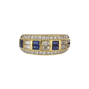 18K Gold Band with Sapphires and Diamonds