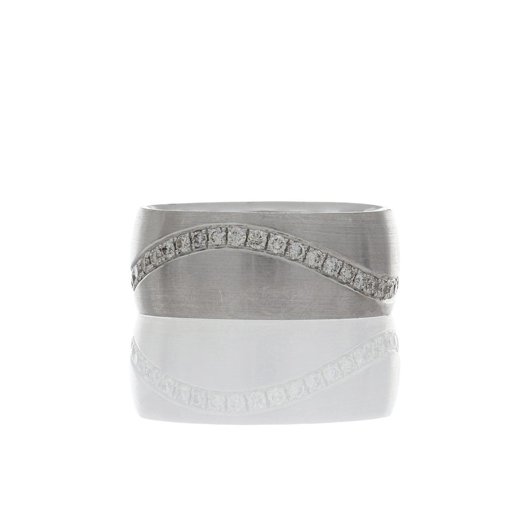 18K White Gold Band with Diamonds