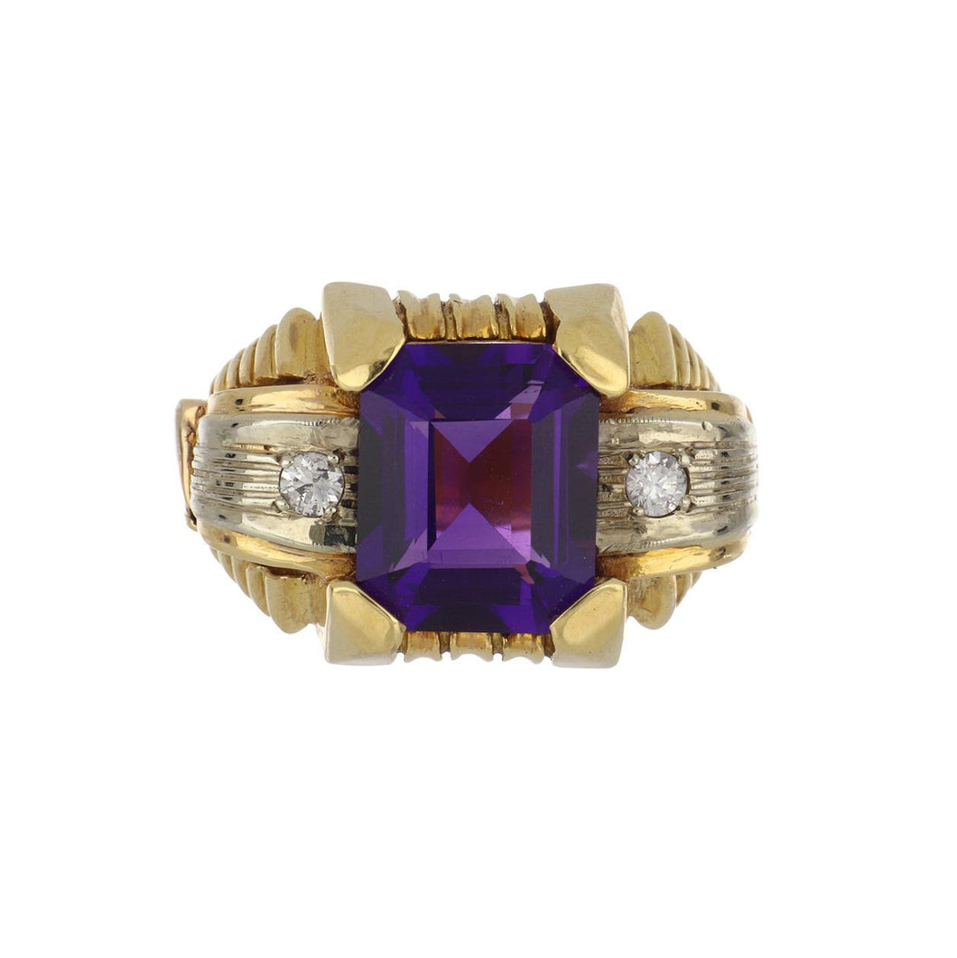 18K Two-Tone Gold Amethyst and Diamond Ring