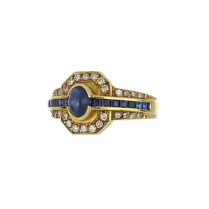 Estate 18K Gold Sapphire and Diamond Ring