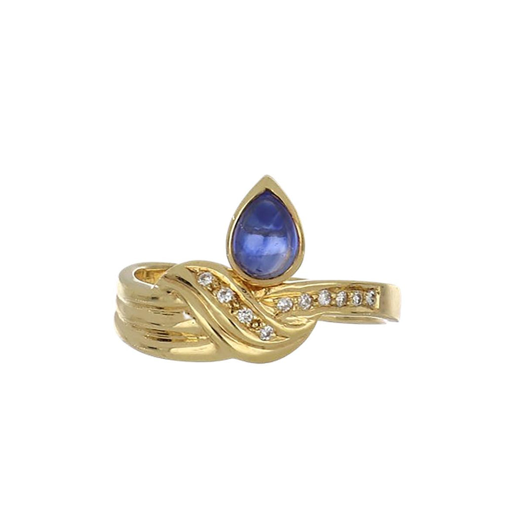 Estate 18K Gold Pear Shape Cabochon Sapphire and Diamond Ring