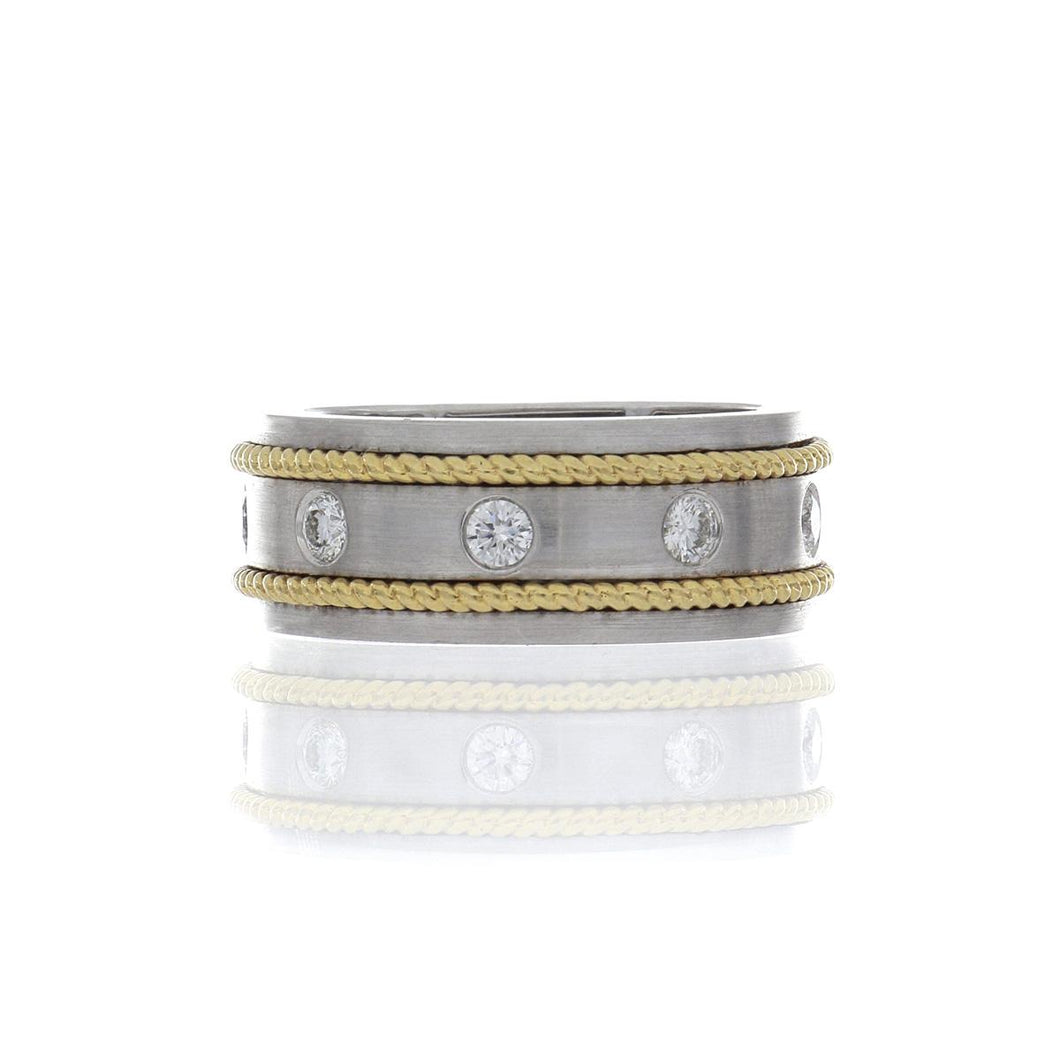 18K Two-Tone Gold Band with Diamonds