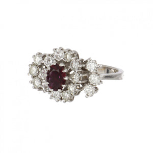18K White Gold Ruby and Diamond Cocktail Ring