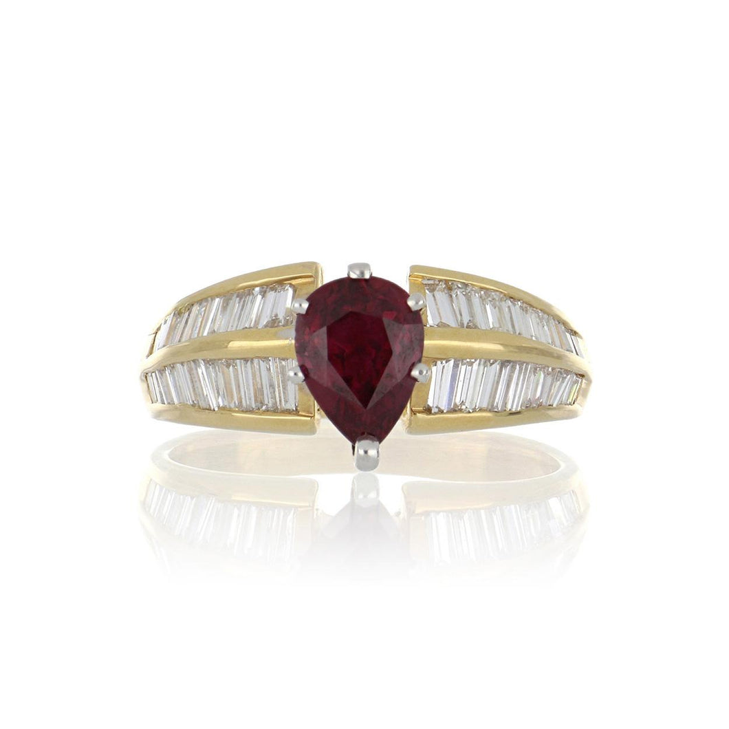 Estate 18K Gold Pear Ruby and Baguette Diamond Ring