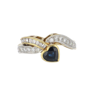 Estate 18K Gold Heart Sapphire and Diamond Ring