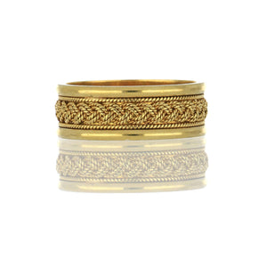 Estate 18K Gold Wedding Band with Braided Design