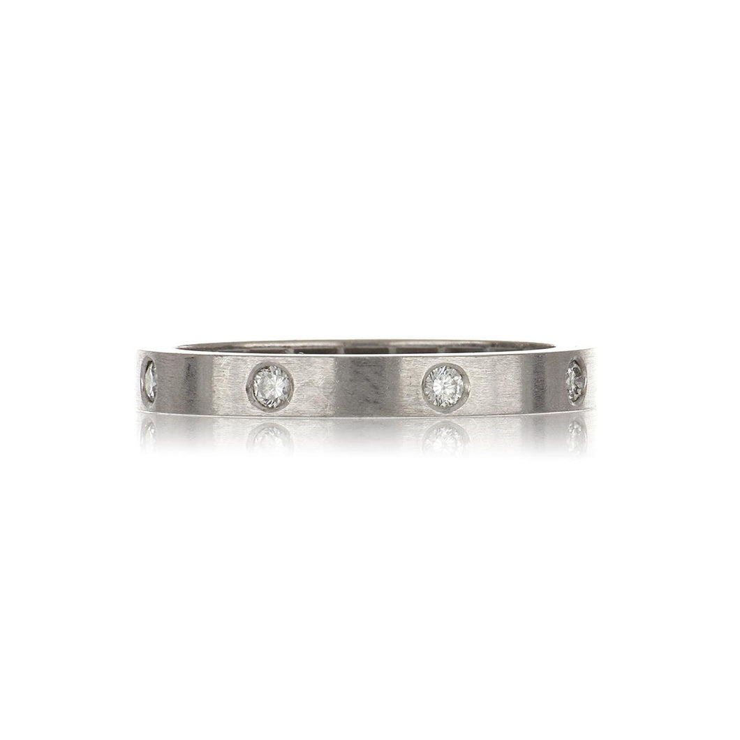 18K White Gold Brushed Band with Diamonds