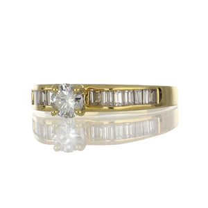 Estate 18K Gold Diamond Engagement Ring with  Baguette Diamond Band