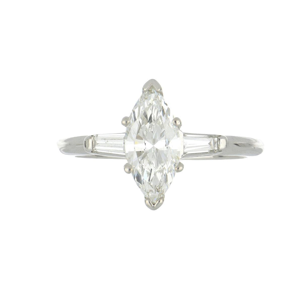 Estate 14K White Gold Marquise Diamond Engagement Ring