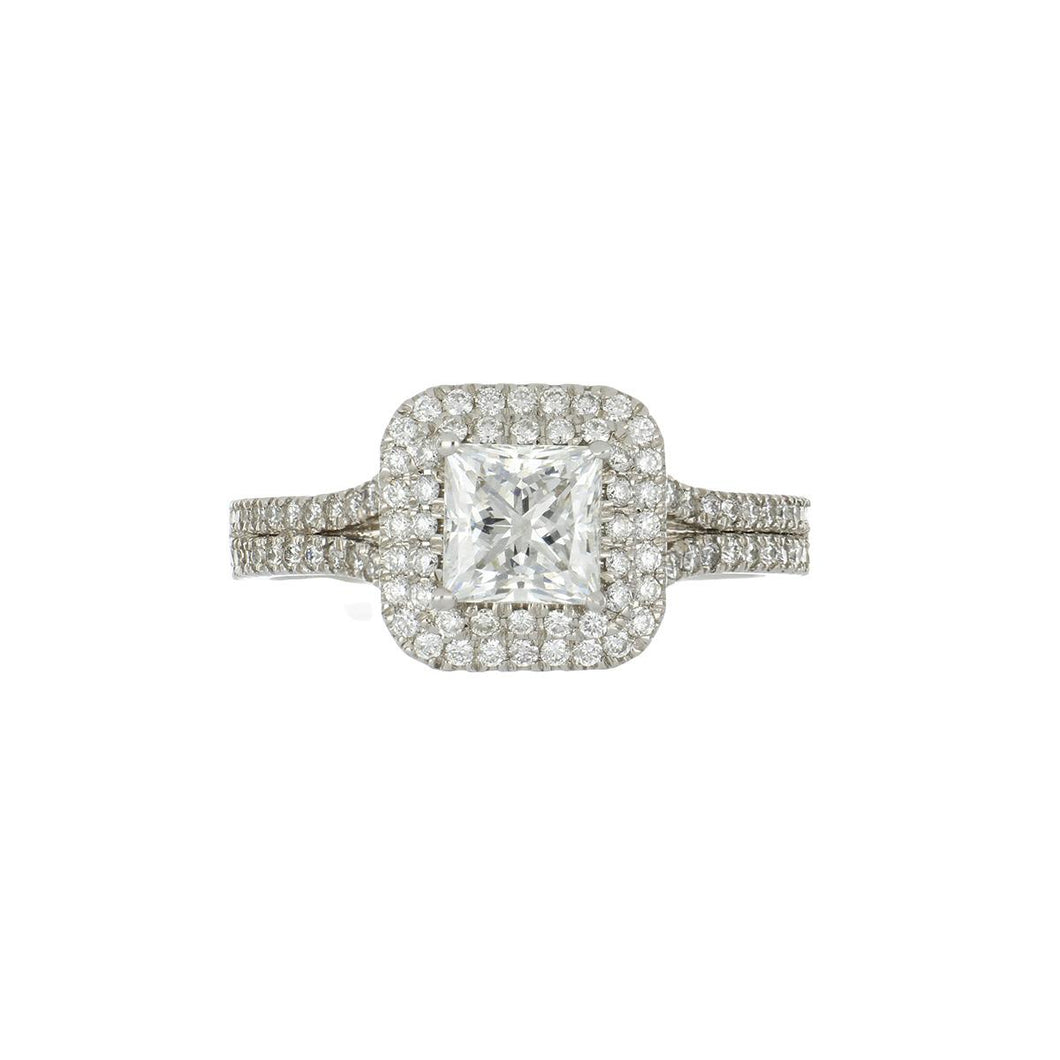 Estate 18K White Gold Princess-Cut Diamond Engagement Ring