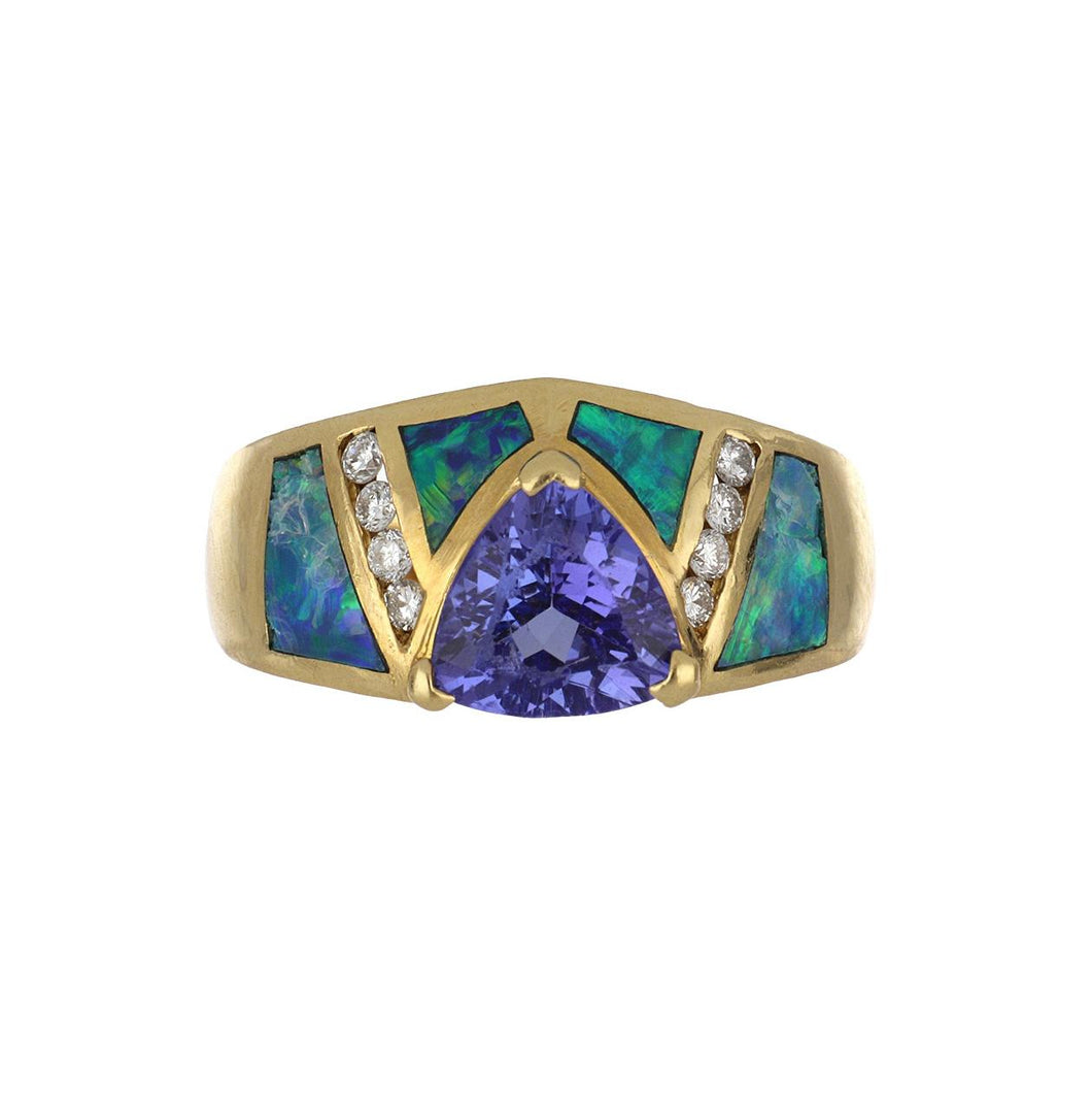 Estate 18K Gold Tanzanite and Black Opal Ring with Diamonds