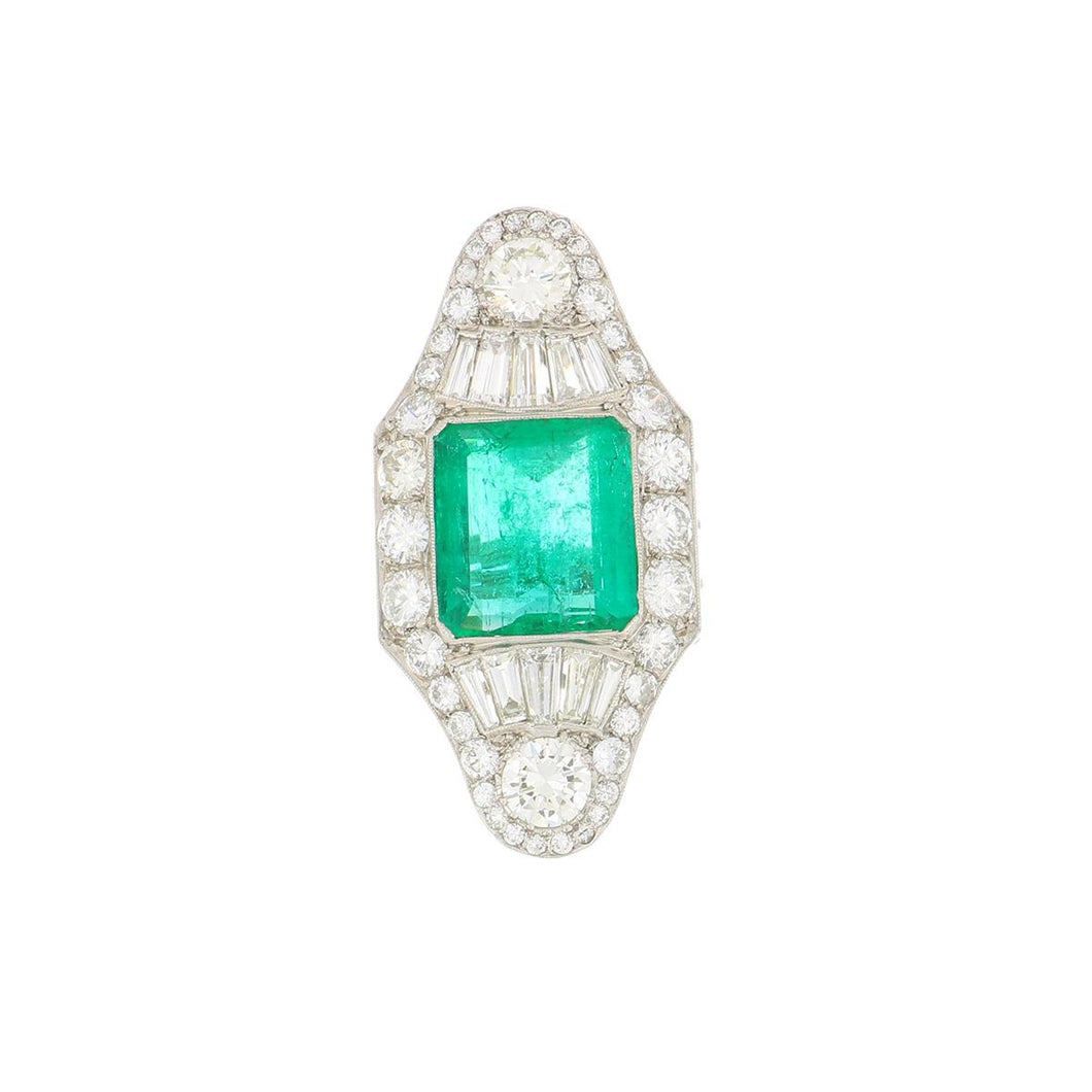 Art Deco Platinum Emerald and Diamond Navette Ring