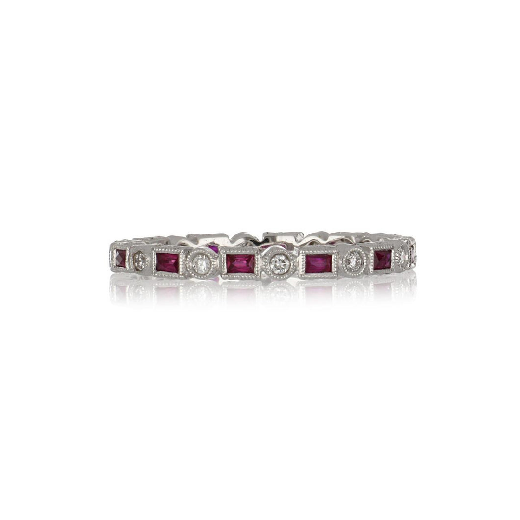 18K White Gold Millegrain Bezel-Set Diamond and Ruby Eternity Band