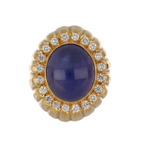 Estate 18K Gold Cabochon Sapphire Ring with Diamonds
