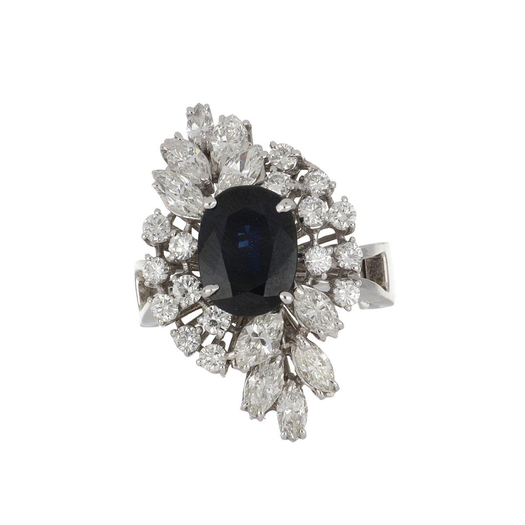 Estate 14K White Gold Cushion Sapphire and Diamond Cluster Ring