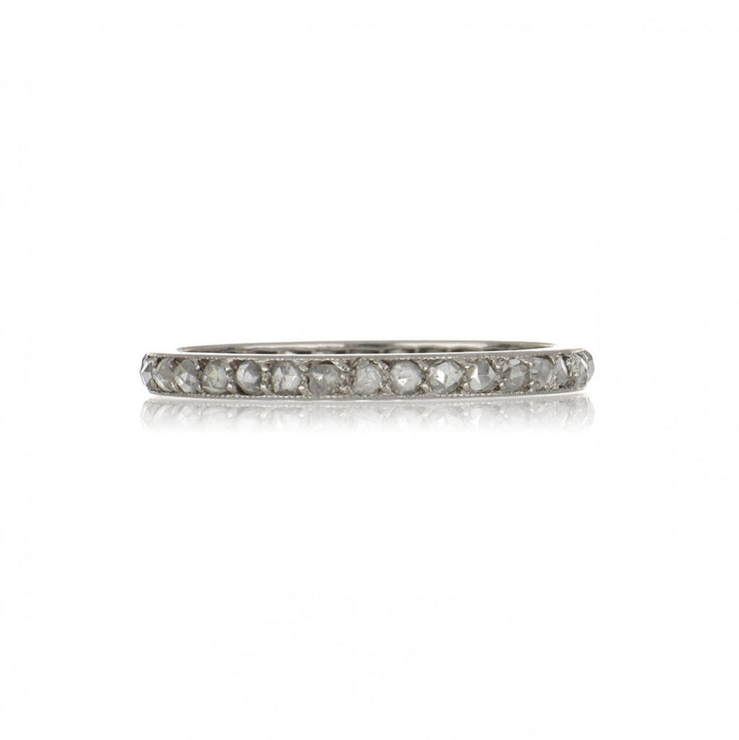 Art Deco Platinum Rose-Cut Diamond Eternity Band