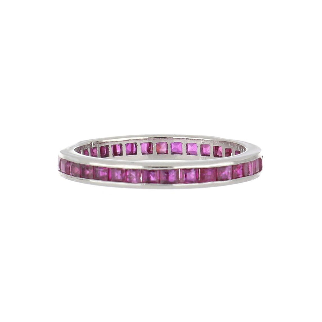 Art Deco Platinum Channel-Set Square-Cut Ruby Eternity Band