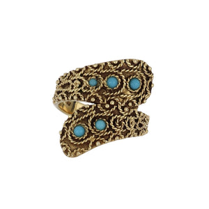 Estate 14K Gold Crossover Ring with Turquoise Blue Glass