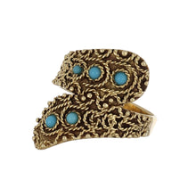 Load image into Gallery viewer, Estate 14K Gold Crossover Ring with Turquoise Blue Glass