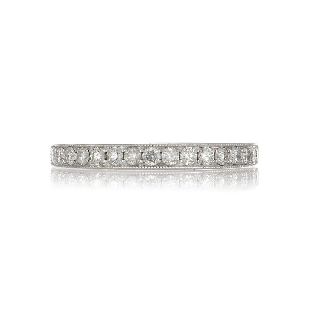 18K White Gold Diamond Half Eternity Band with Millegrain